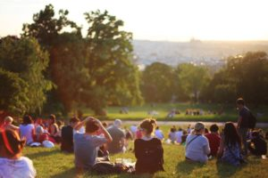 A crowd of people with picnics in a park