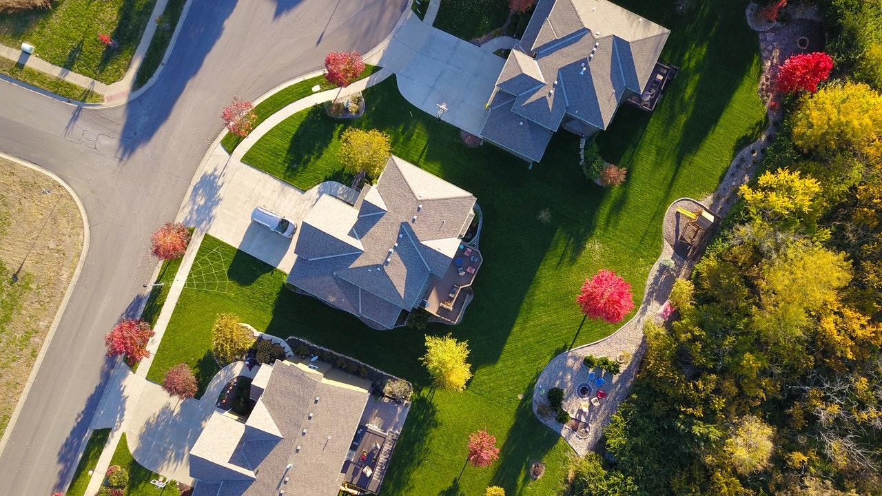 Aerial shot of a suburban neighborhood.