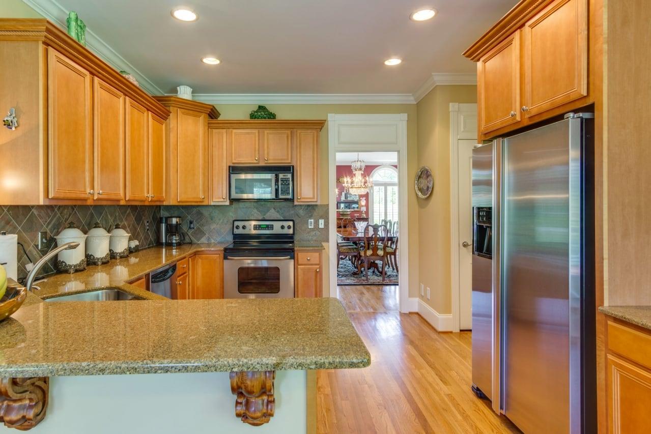 Wood-paneled kitchen.