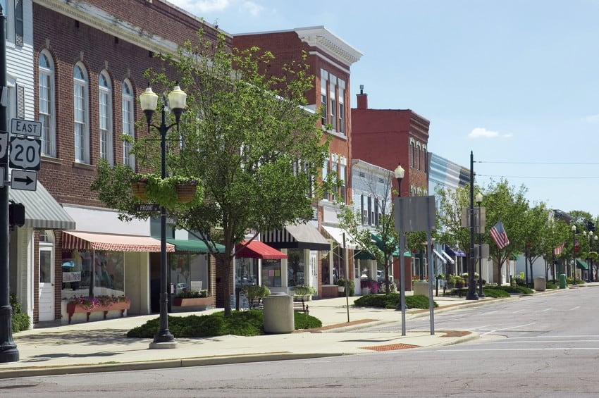 A small town strip with local businesses.