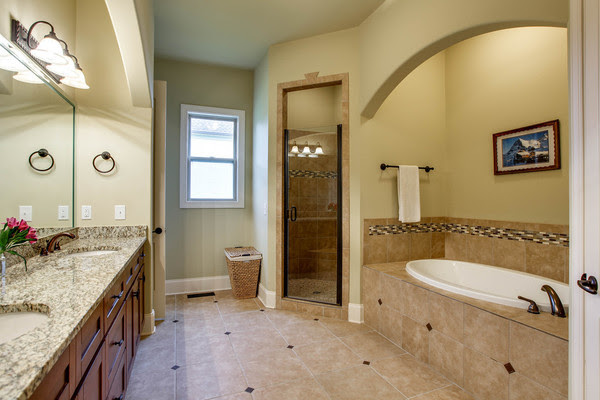 a tiled master suite